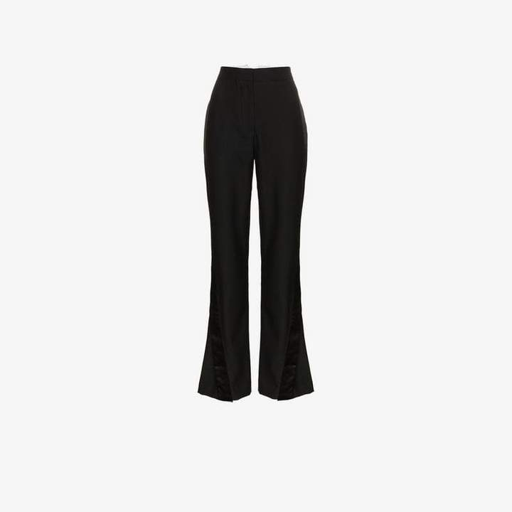 Wright Le Chapelain high waisted silk flared trousers