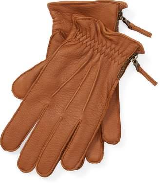 Ralph Lauren Side-Zip Deerskin Gloves