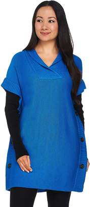 Belle By Kim Gravel Belle by Kim Gravel V-neck Poncho with Knit Long Sleeves