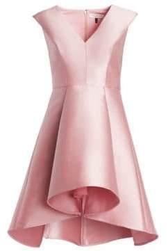 Halston H Structured Satin Flare Dress
