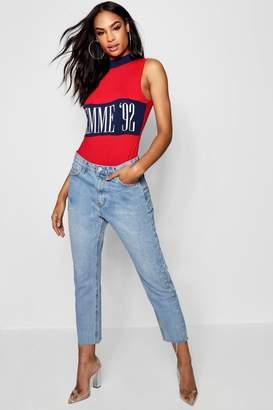 boohoo High Rise Distressed Boyfriend Jeans