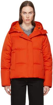 Kenzo Orange Down Funnel Collar Puffer Jacket