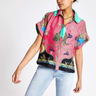 River Island Womens Pink chain print shirt