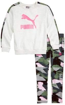 Puma Logo Fleece Sweatshirt & Leggings Set