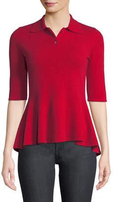 Neiman Marcus Elbow-Sleeve Cashmere Peplum Polo Shirt
