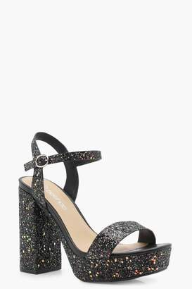 boohoo Wide Fit Glitter Platform Heels