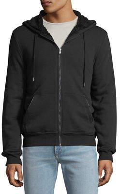 Michael Kors Men's Faux-Sherpa Line Zip-Front Hoodie