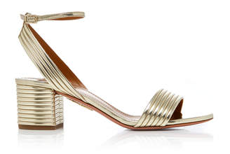 Aquazzura Sundance Metallic Leather Sandals