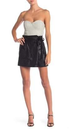 Line & Dot Daine Faux Leather Wrap Skort