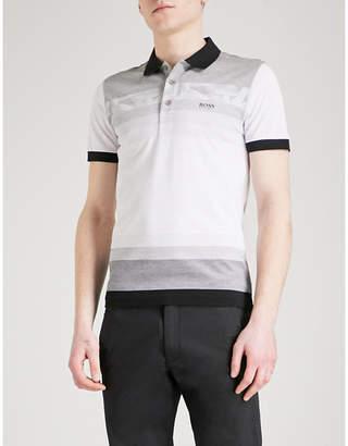 BOSS GREEN Striped cotton-piqué polo shirt