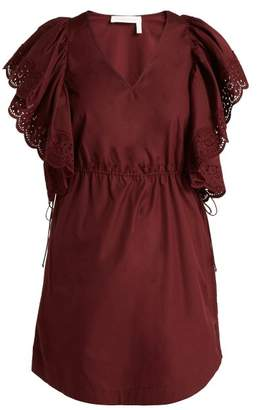 See by Chloe Embroidered Sleeve Poplin Day Dress - Womens - Burgundy