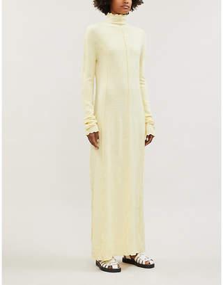 Jil Sander Lettuce-edge high-neck wool maxi dress