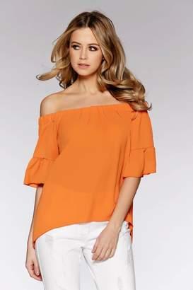 Quiz Orange Bardot Frill Top