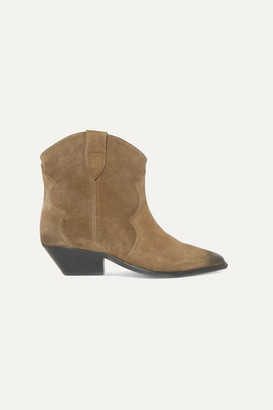 Isabel Marant Dewina Distressed Suede Ankle Boots - Taupe