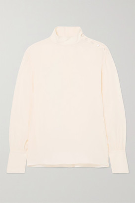 Chloé Turtleneck Silk Blouse - Cream