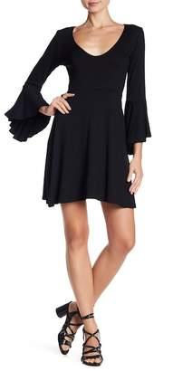 Angie Bell Sleeve V-Neck Mini Dress