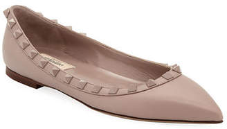 Valentino Rockstud Smooth Calf Leather Ballet Flats
