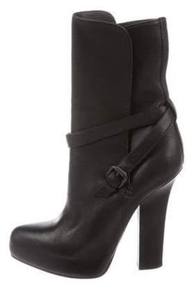 Bottega Veneta Leather Mid-Calf Boots Black Leather Mid-Calf Boots
