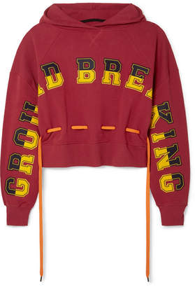House of Holland Ground Breaking Oversized Appliquéd Cotton-jersey Hoodie - Red