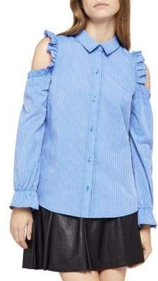 BCBGeneration Cold-Shoulder Ruffled Pinstripe Shirt