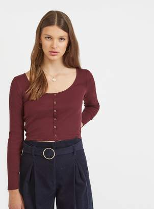 0475c07bddb938 Miss Selfridge Burgundy Long Sleeve Button Through Top