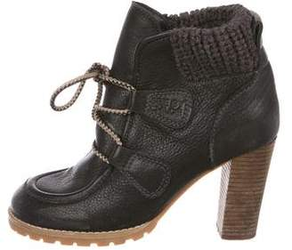 See by Chloe Leather Round-Toe Ankle Boots