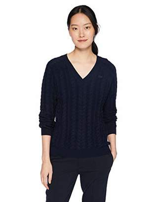 Lacoste Women's Long Sleeve Wool Cable Knit V-Neck Sweater