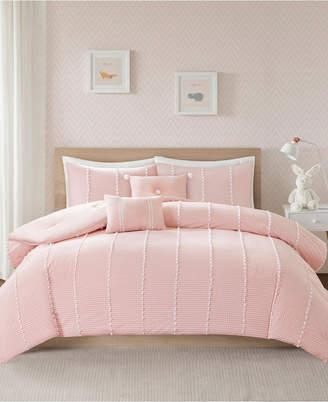 Jla Home Urban Habitat Kids Ayden Twin/Twin Xl 4 Piece Cotton Gingham Comforter Set with Jacquard Pompoms Bedding