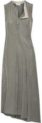Acne Studios Deala Asymmetric Gingham Crepon Midi Dress - Beige
