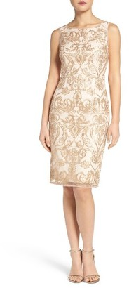 Women's Adrianna Papell Embroidered Mesh Sheath Dress $169 thestylecure.com