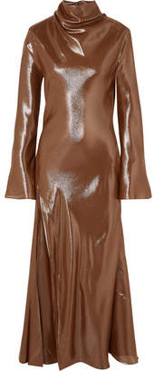 Ellery Suprematism Cutout Draped Silk-blend Lamé Maxi Dress