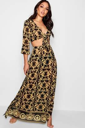 boohoo Scarf Print Tie Front Beach Co-ord