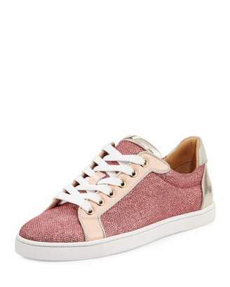 Christian Louboutin Seava Woman Glitter Red Sole Low-Top Sneaker $795 thestylecure.com