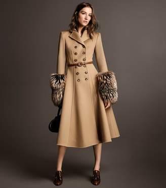 Michael Kors Fox Fur-Cuffed Wool-Melton Princess Coat
