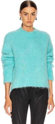Maison Margiela Crewneck Mohair Sweater in Turquoise | FWRD