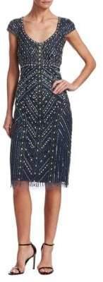Theia Beaded Cap-Sleeve Dress