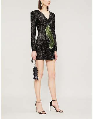 Balmain Leaf-motif foldover sequinned dress