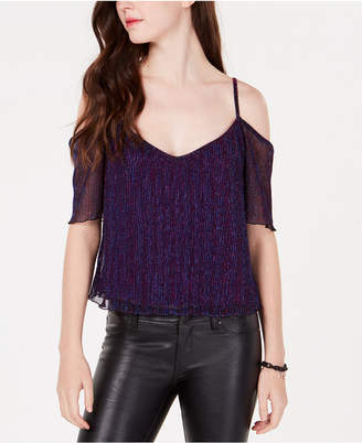 XOXO Juniors' Shine Pleated Off-The-Shoulder Top