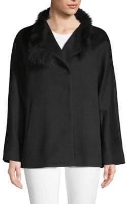 Cinzia Rocca Fox Fur-Trimmed Wool Jacket