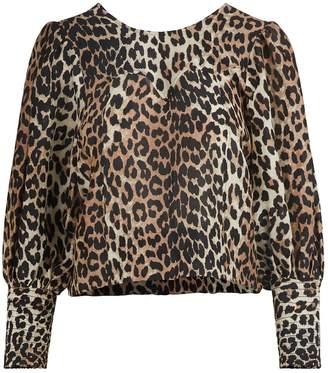 Ganni Leopard print blouse