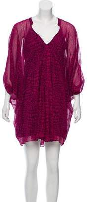 Diane von Furstenberg Silk Long Sleeve Mini Dress