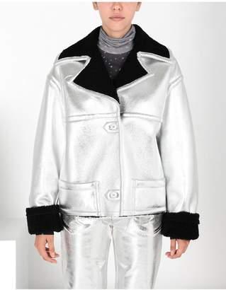 Maison Margiela Silver Leather Shearling Jacket