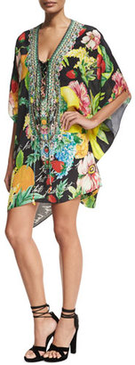 Camilla Short Lace-Up Embellished Silk Kaftan Swim Coverup $550 thestylecure.com