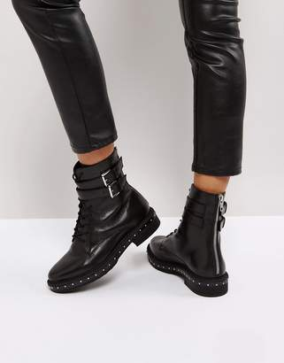 Asos Alec Leather Studded Lace Up Boots