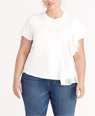 Rachel Roy Trendy Plus Size Ruffled Top