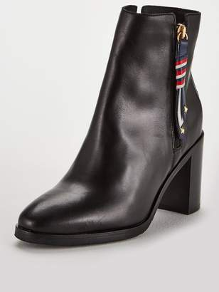 Tommy Hilfiger Corporate Tassle Mid Heeled Ankle Boot