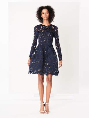 Oscar de la Renta Navy Floral Satin Lace Cocktail Dress