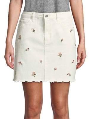 Kensie jeans Floral Scalloped Denim Mini Skirt