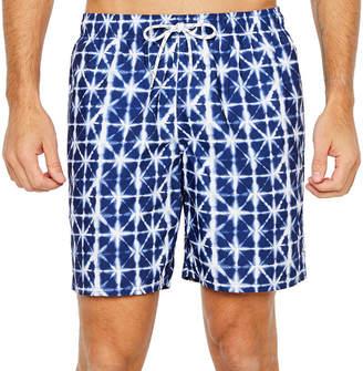 ST. JOHN'S BAY Navy Geo Geometric Swim Shorts