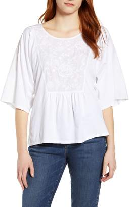 Caslon Embroidered Bib Top
